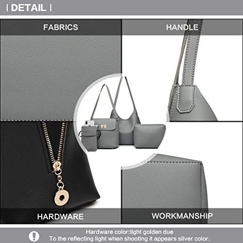 Miss Set Phone Pu Elegant Fashion Bag Handbag Wallet Lulu 4 Bag Leather Women Shoulder Gift Girls Ladies for Crossbody Holder Pu Grey for Leather 8w87O