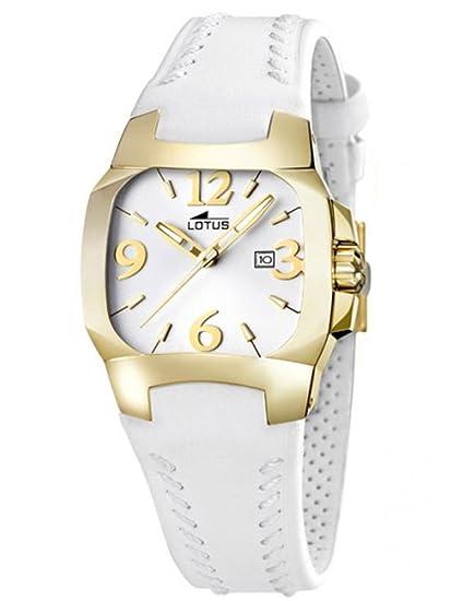 9ae7aae6d09e LOTUS CODE 15517 J-CORREA DE PIEL BLANCA-RELOJ ANALOGICO DORADO PARA MUJER- NUEVO-GARANTIA 2 AÑOS  Amazon.es  Relojes