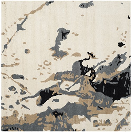 Safavieh Bella Collection BEL117A Handmade Modern Abstract Art Ivory and Grey Wool Square Area Rug (5' - Area Expression Abstract Rug