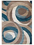 "SUMMIT BY WHITE MOUNTAIN Summit 9S-GLYK-LW67 New Elite ST59 Blue Cream Beige Swirl Area Modern Abstract Rug Many Sizes Available, 5 X 7 ACTUAL IS 5′ X 7.'2"" For Sale"
