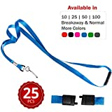 Durably Woven Lanyards with Safety Breakaway ~Premium Quality, Smoothly Finished for Skin-friendly Comfort~ For Moms, Teachers, Tours, Events, Cruises & More (25 Pack, Blue) by Stationery King