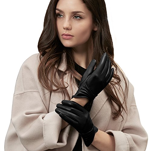 GSG Womens Black Leather Gloves Ruched Fish Mouth Touchscreen Driving Gloves Ladies Warm Winter Outdoor 7