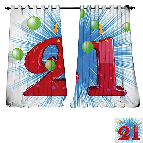 WilliamsDecor Blackout Window Curtain Blue and White Colored Abstract Backdrop with The Party Balloons Customized Curtains W96 x L96 Pale Green and -