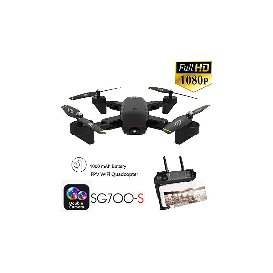 3D Flips Drone with 1080P HD Camera Live Video Headless Mode,Trajectory Flight,Altitude Hold RC Helicopter 2