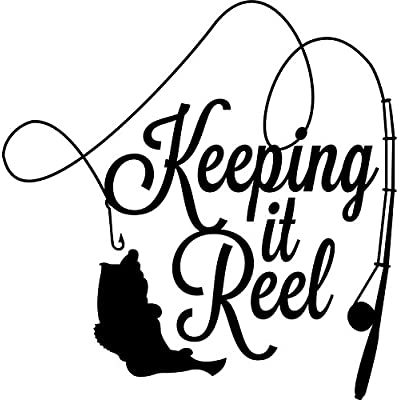CMI ND019 Keeping It Reel Fishing Decal Sticker | 5.5-Inches By 5.4-Inches | Premium Quality Black Vinyl: Automotive
