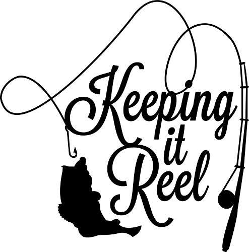 CMI ND019 Keeping It Reel Fishing Decal Sticker | 5.5-Inches By 5.4-Inches | Premium Quality Black Vinyl (Fishing Wall Decals)