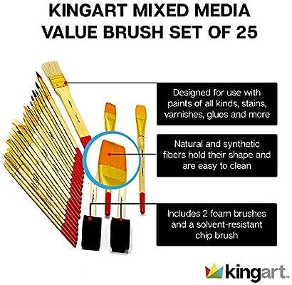 Kingart 25 Pc Mixed Media Value Brush Set Amazon Ae