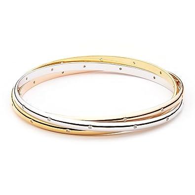 MYJS Trinity 3 Gold Plated Interlocking Bangle Bracelet with Cubic Zirconia bbysKMSqW