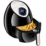 SUPER DEAL 1500W Electric Air Fryer 3.7 QT with Rapid Air Technology Touch Screen 7 Cooking Presets Menu, Timer and Temperature Control