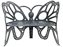 Flower House FHBFB06A Butterfly Bench, Antique