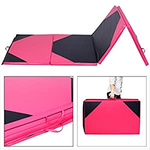 "4'x10'x2"" Thick Folding Panel Gymnastics Mat Gym Fitness Exercise Pink/Black"