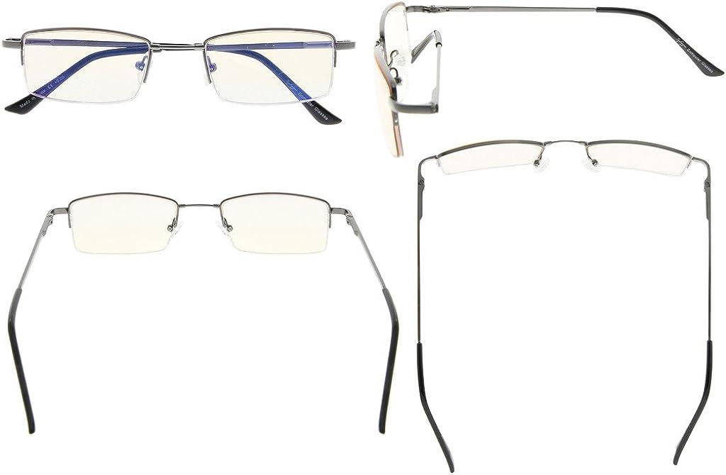 Eyekepper demi-cerclee titane pont lunettes de vue pour jeux Video blocage lumieres bleues lecture verres ambres