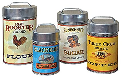 Cwi Gifts Vintage Canisters Food Safe Set Of 4 7 25 Inch 10 25 Inch