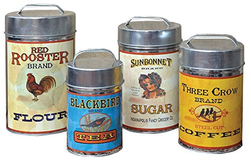 CWI Gifts Vintage Canisters Food Safe (Set of 4), 7.25