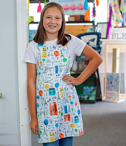 Colorful Paris Tween Girl Apron Gift for Art Crafts or Kitchen from Sara Sews, Inc.