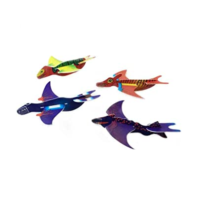 Fun Central 48 Pack - Dinosaur Foam Glider Plane for Kids - Hand Throw Flying Toy Airplane Party Favors - Assorted: Office Products