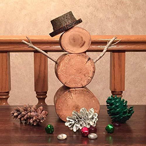 Barkless Tabletop Natural Wood Snowman -