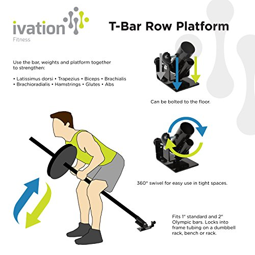 "Ivation T Bar Row Platform – 360° Swivel for Easy Use in Tight Spaces – Fits 1"" Standard & 2"" Olympic Bars"