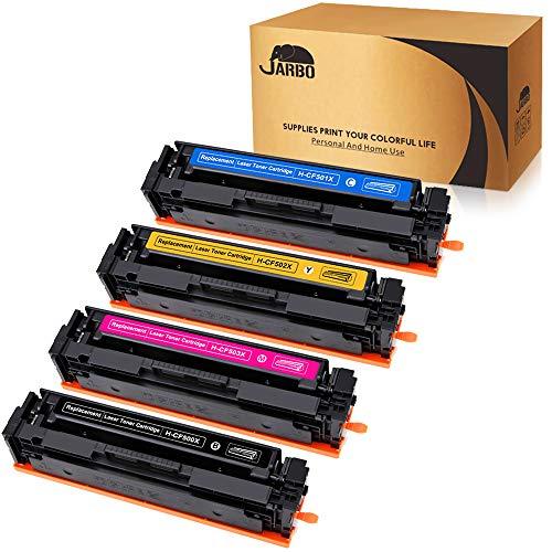Compatible HP 202X 202A Toner Cartridges, JARBO 1 Set (Black-CF500X, Cyan-CF501X, Yellow-CF502X, Magenta-CF503X), Compatible with HP Laserjet Pro MFP M281fdw M254dw M281cdw M254nw M280nw Printer