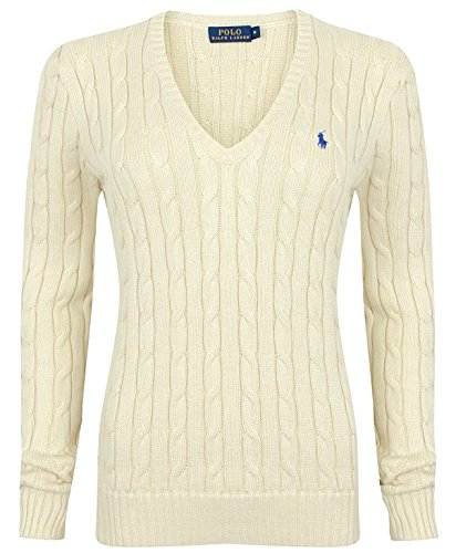 Polo Ralph Lauren Cable Knit V-Neck Cotton Pullover Kimberly Creme S