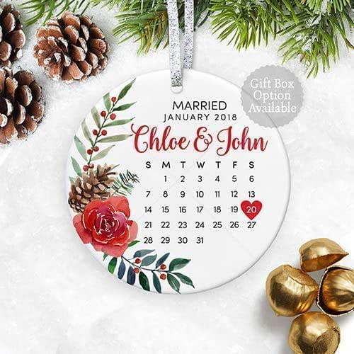 Christmas Ornament Wedding Gift: Amazon.com: Floral Personalized Wedding Gift With Date For