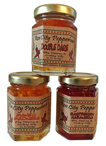 BBQ Trio Rose City Pepperheads Pepper Jelly - BBQ Mini Trio - Christmas, Hostess, Secret Santa, Birthday, Get Well Gift (BBQ Minin - Red Bar Rose