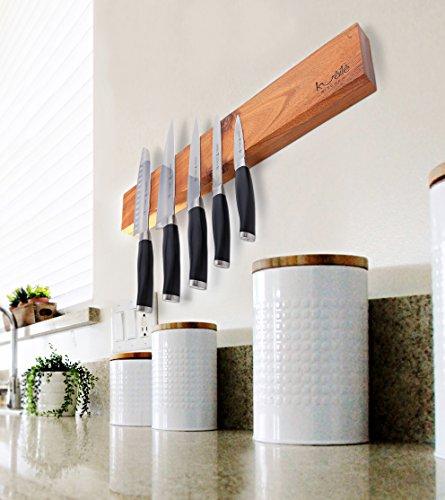 Heavy Duty Knife Holder - Magnetic Knife Bar - Knife Storage Strip 18'' (Bamboo Wood, 16 Inch) by Kuaile Kitchen (Image #3)