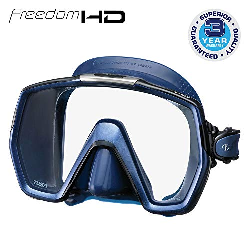 TUSA M-1001 Freedom HD Scuba Diving Mask, Indigo Skirt/Indigo Frame
