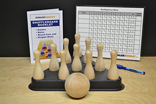 Table Shuffleboard Bowling Brown Pins - Pinsetter - Booklet - Score Chart & Wood Ball (Shuffleboard Bowling Pins)
