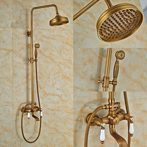 Rozinsanitary Antique Brass Shower Mixer Tap Units Wall Mount Bathtub Faucet with (Shower Wall Mount Unit)