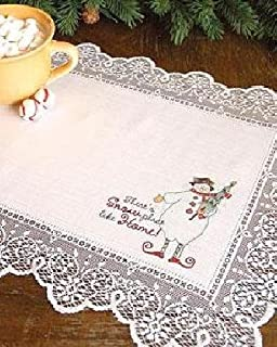 """product image for Heritage Lace Christmas Snow Place Like Home Placemat or Doily 14 x 19"""" White"""