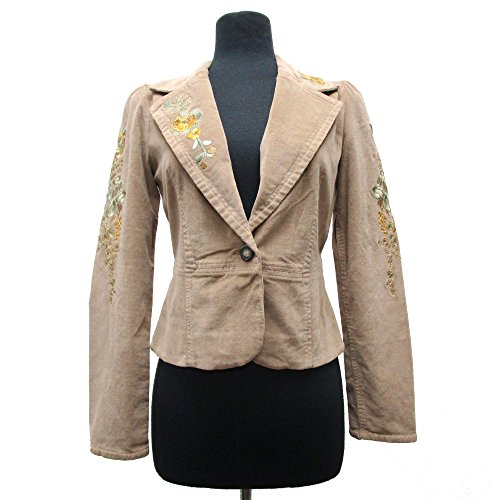 (Rain + Rose Women's Corduroy Jacket Floral Embroidered Camel (Small))