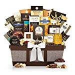GiftTree Fit For Royalty Gourmet Basket | Gourmet Cheese and Olives, Smoked Salmon, Pear Balsamic Vinegar, Crackers, Honey Roasted Peanuts & More | Perfect Gift for Christmas, Holidays, Executives 10 Fit for Royalty will leave your recipient stunned with this exceptional variety of sweet, savory and NW inspired treats Pacific Smoked Salmon, Sonoma Harvest d'Anjou Pear Balsamic, Manzanilla Olives, Camembert and so much more Each gourmet item is carefully assembled by hand, and the basket is accentuated with a hand-tied satin ribbon