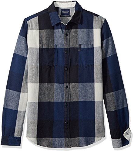 Scotch & Soda Men's Summery Chunky Shirt In Checks and Stripes In Broken Twill Qua, Combo a, (Soda Stripe Shirt)