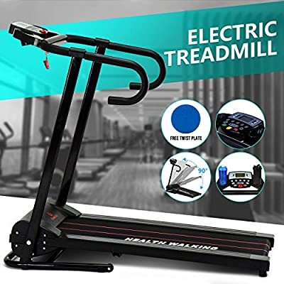 Fitnessclub Folding Treadmill 1100W Electric Motorized Treadmill Folding Running Gym Fitness Machine Home Gym w/LCD Display Tablet Holder
