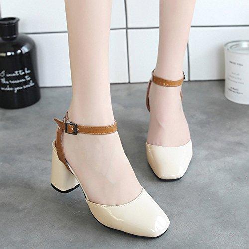 RUGAI-UE Las mujeres hebilla sandalias verano zapatos Retro Beige