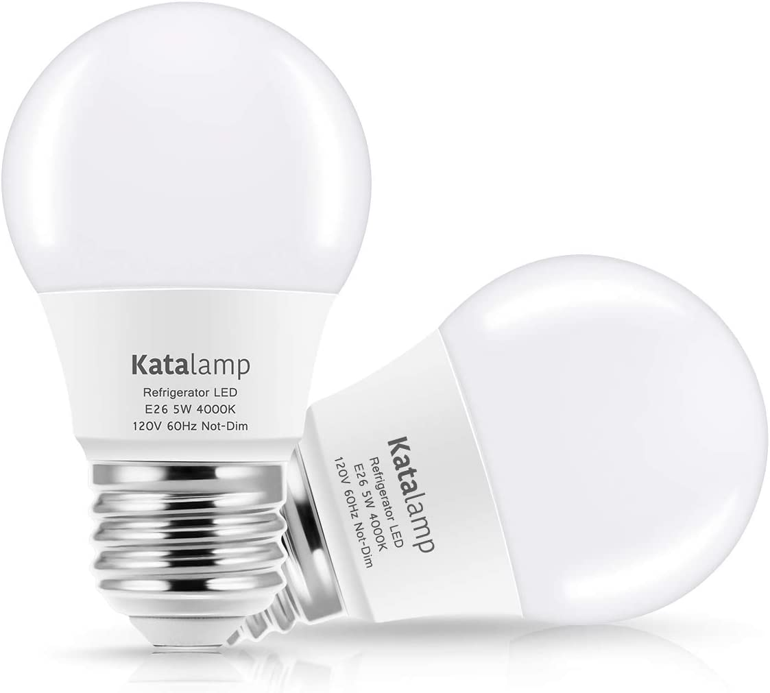 Katalamp LED Refrigerator Light Bulb 40W Equivalent A15 4000K Natural White 5 Watt Waterproof Rating 40 Watt Equivalent E26 Medium Base Freezer Bulb 120V Ceiling Home Lighting Lamp 2-Pack