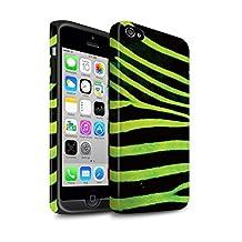 STUFF4 Matte Tough Shock Proof Phone Case for Apple iPhone 4/4S / Green Design / Zebra Animal Skin/Print Collection