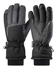 Andake Ski Gloves, Men 3M Thinsulate Warm Winter Gloves Waterproof Windproof Touchscreen Sport Gloves with Zipper Pocket for Ski, Riding, Snowboard, Mountaineering, Winter Outdoor Sports