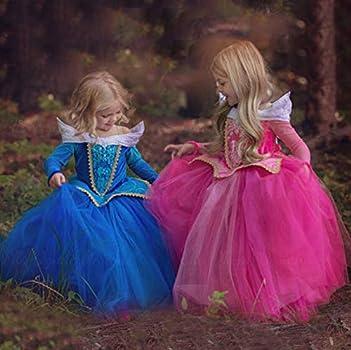 LOBTY Disfraz de Princesa Aurora para Niñas Rosa Traje de Bella ...