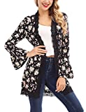 FISOUL Women's Open Front Cardigan Long Bell Sleeve Floral Lace Kimono Cardigan Sweater S-XXL(Black,Small)