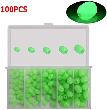 100X Round soft Glow Rig Beads Sea Fishing Lure Floating Float Tackl CA CA
