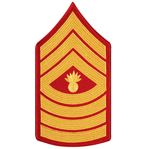 Medals of America United States Marine Corps (USMC) Chevron Gold Embroidered on red MGYSGT Master Gunnery Sergeant - Usmc Master Sergeant Gunnery
