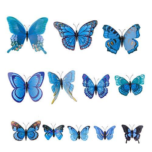 AWAYTR Butterfly Hair Clip Double Wings Realistic 12Pcs DIY Handmade Design Fairy Hair Clips Set for Girl (RoyalBlue) -