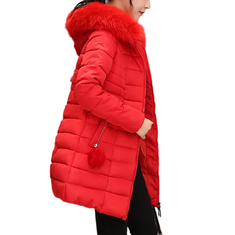 Women Winter Windproof Warm Long Thick Fur Collar Cotton Hooded Coat Parka Slim Jacket