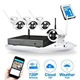 JOOAN TC-734NVR-4K-1T WIFI 4ch 720P Wireless IP Security Camera System NVR Webcam Kits Home Surveillance Video Monitoring CCTV Equipment Night Vision Plug and Play Indoor/Outdoor with 1TB Hard Drive