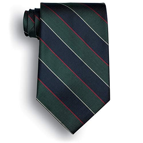 Signature Stripes Polyester Tie - Argyle and Sutherland - Navy, Green, Red, White