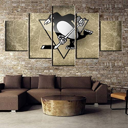 Wall Art Wall Decor 5 Piece Hd Print Ice Hockey Penguin Pittsburgh Sport Logo Cuadros Decoracion Paintings On Canvas Wall Art for Home Decorations Wall Decor
