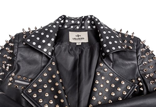 Kemilove Womens Fashion Studded Perfectly Shaping Faux Leather Biker Jacket