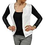 Hibote Cardigan Women Knitted Coat Slim Fit Quilted Jacket with Faux Leather Sleeves Round Neckline Coats Black White S-2XL